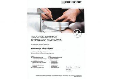 Certificat Rheinzink