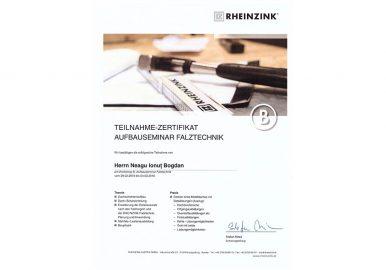 Certificat Rheinzink 2016