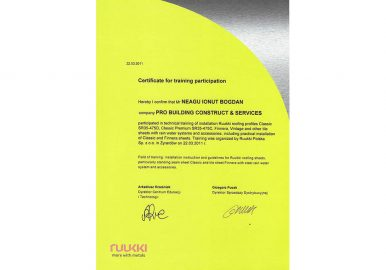 certificat participare training
